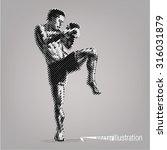 kick boxer. vector artwork in... | Shutterstock .eps vector #316031879