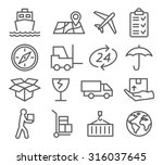 logistic and delivery line icons | Shutterstock .eps vector #316037645