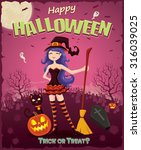 vintage halloween design set... | Shutterstock .eps vector #316039025