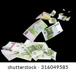 falling euros isolated on black ... | Shutterstock . vector #316049585