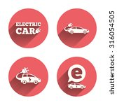 Electric Car Icons. Sedan And...