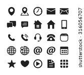 black contact mobile icon set | Shutterstock .eps vector #316056707
