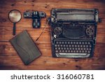 top view of old typewriter  old ... | Shutterstock . vector #316060781