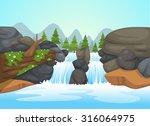 illustration of  waterfall...