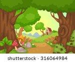 illustration of rural landscape ... | Shutterstock .eps vector #316064984