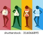 set of female body shape types... | Shutterstock .eps vector #316066895