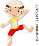 funny cartoon little mummy  boy ... | Shutterstock . vector #316071647