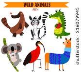 Vector Set Wild Animals In...