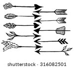 cute arrows  hand drawn doodles ... | Shutterstock .eps vector #316082501