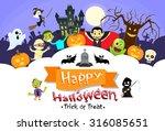happy halloween banner monsters ... | Shutterstock .eps vector #316085651