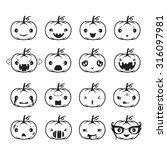 pumpkin emoticons set  holiday  ...