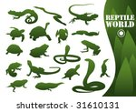Reptile silhouettes isolated on white. Vector illustration. - stock vector