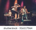 multiracial music band... | Shutterstock . vector #316117064