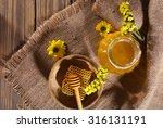 Jar Of Honey  Honeycomb And...