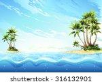 Tropical Island In Ocean   Pal...