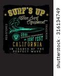 vintage surf neon print  | Shutterstock .eps vector #316134749