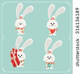 set of cute christmas character.... | Shutterstock .eps vector #316136189