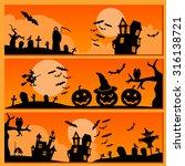 set of halloween banner.... | Shutterstock .eps vector #316138721