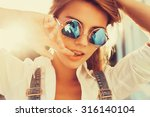 summer funny portrait of young... | Shutterstock . vector #316140104