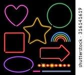 Neon Signs Set Vector...