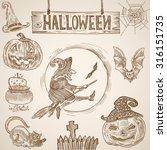 halloween vintage engraving... | Shutterstock .eps vector #316151735