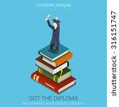 student holds diploma in raised ... | Shutterstock .eps vector #316151747