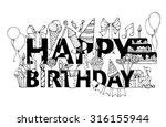 Happy Birthday Card. Hand Drawn ...