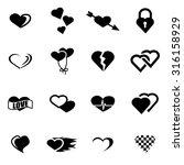 vector black heart icon set   Shutterstock .eps vector #316158929