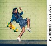 young happy beautiful long... | Shutterstock . vector #316167284