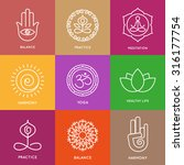 yoga line symbols in colorful... | Shutterstock .eps vector #316177754
