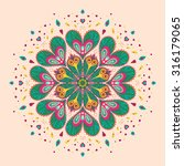 vector circle mandala with... | Shutterstock .eps vector #316179065