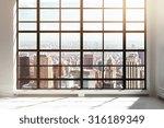 empty loft interior with city... | Shutterstock . vector #316189349