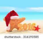 merry christmas on the summer... | Shutterstock . vector #316193585
