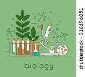 thin line biology laboratory... | Shutterstock .eps vector #316196051
