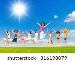 green day jumping together  | Shutterstock . vector #316198079