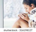 young beautiful  brunette woman ... | Shutterstock . vector #316198127