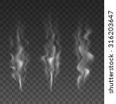 set of three white smoke waves. ... | Shutterstock .eps vector #316203647