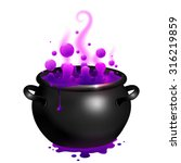 black vector cauldron with... | Shutterstock .eps vector #316219859