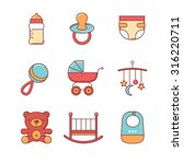 baby icons thin line set. flat... | Shutterstock .eps vector #316220711