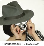 woman in a hat with a vintage... | Shutterstock . vector #316223624