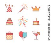 birthday icons thin line set.... | Shutterstock .eps vector #316225571