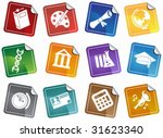 education sticker icon set  ... | Shutterstock .eps vector #31623340