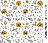 halloween hand drawn doodle... | Shutterstock .eps vector #316241345