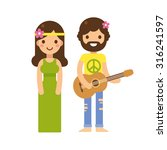 cute hippie couple  woman in... | Shutterstock .eps vector #316241597