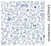 toys hand drawn doodle set on... | Shutterstock .eps vector #316259465