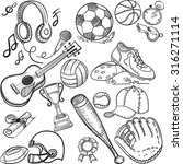 doodle sports icons. vector... | Shutterstock .eps vector #316271114
