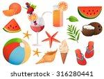 summer  travel  vacation  beach ... | Shutterstock .eps vector #316280441