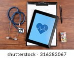 stethoscope with pills and... | Shutterstock . vector #316282067