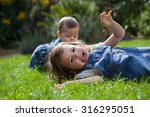 toddler girl playing in the... | Shutterstock . vector #316295051
