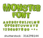 Monster Font. Green Scary...